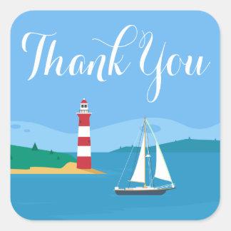 Zeevaart dank u het Blauw van de Vuurtoren & van Vierkante Sticker