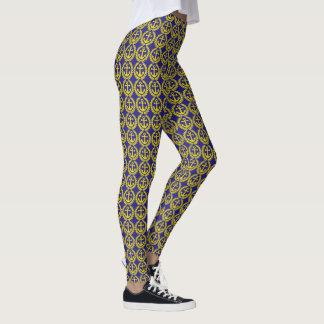 Zeevaart geel en blauw ankerpatroon leggings