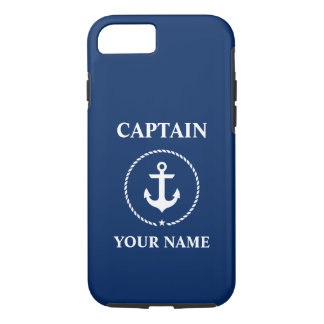 Zeevaart Kapitein Add Name Anchor Marineblauw Rope iPhone 8/7 Hoesje