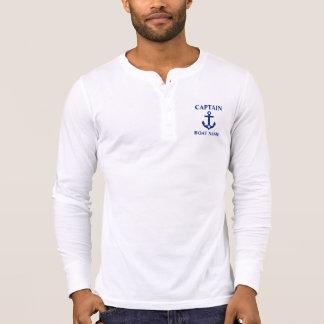 Zeevaart Kapitein Boat Name Anchor Star Henley T Shirt