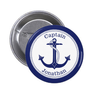 Zeevaart Kapitein Personalized van het Anker Ronde Button 5,7 Cm