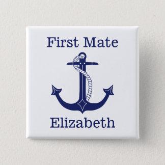 Zeevaart Kapitein Personalized van het Anker Vierkante Button 5,1 Cm