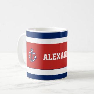 Zeevaart Mariene Marineblauwe Witte Strepen Koffiemok