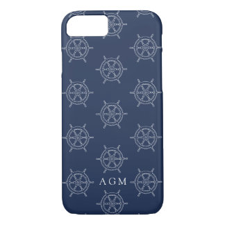 Zeevaart Marine & het Witte Monogram van het iPhone 8/7 Hoesje