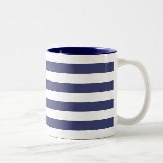 Zeevaart Marineblauwe en Witte Strepen Tweekleurige Koffiemok