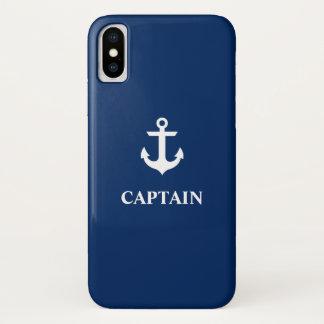Zeevaart Marineblauwe iPhone X van de Kapitein van iPhone X Hoesje
