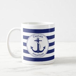 Zeevaart Marineblauwe Kapitein Personalized van Koffiemok