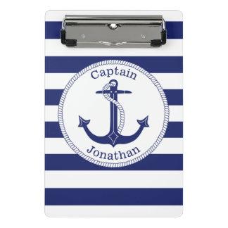 Zeevaart Marineblauwe Kapitein Personalized van Mini Klembord