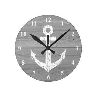 Zeevaart muurklok | bootanker en houten panelen ronde klok medium