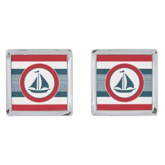 Zeevaart ontwerp verzilverde manchetknopen
