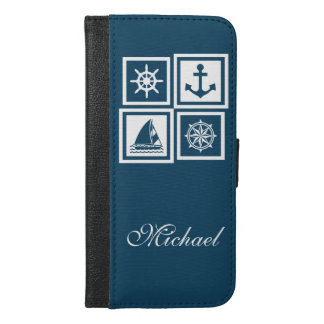 Zeevaart themed ontwerp iPhone 6/6s plus portemonnee hoesje