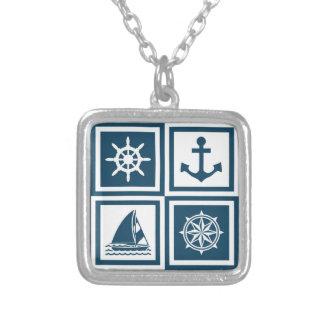 Zeevaart themed ontwerp zilver vergulden ketting