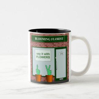 Zeg het met bloemen tweekleurige koffiemok