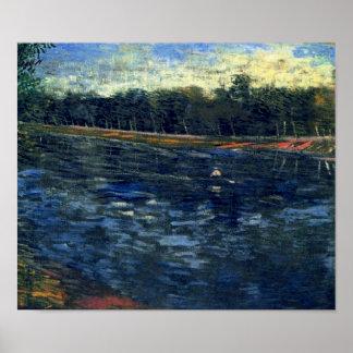 Zegen met een het Roeien Boat Van Gogh Fine Art. Poster