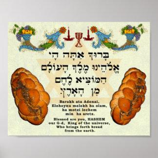 Zegenend voor Brood, Hebreeër en het Engels Poster