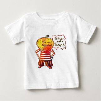 zegt het pompoen hoofdkind trick or treat baby t shirts