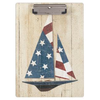 Zeilboot met Amerikaanse Vlag Klembord