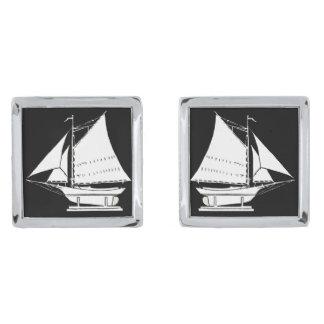 zeilboot silhouet verzilverde manchetknopen