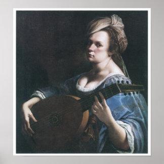 Zelf-portret die een Luit, 1615-17 spelen Poster