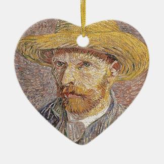 Zelf-portret met een Pet van het Stro - Van Gogh Keramisch Hart Ornament