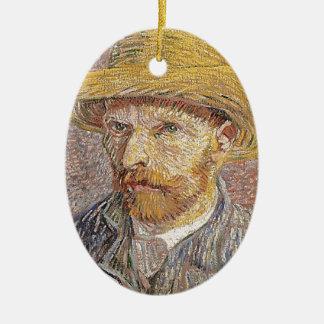 Zelf-portret met een Pet van het Stro - Van Gogh Keramisch Ovaal Ornament