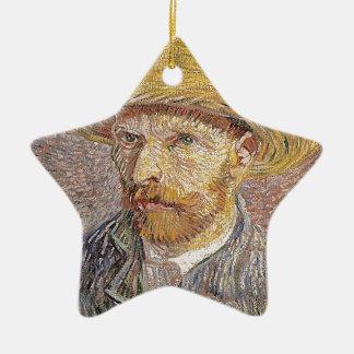 Zelf-portret met een Pet van het Stro - Van Gogh Keramisch Ster Ornament