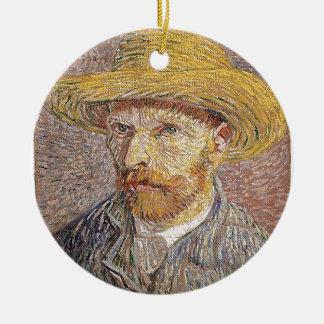 Zelf-portret met een Pet van het Stro - Van Gogh Rond Keramisch Ornament