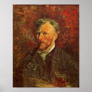 Zelf-portret, Pijp en Glas, Van Gogh Fine Art. Poster