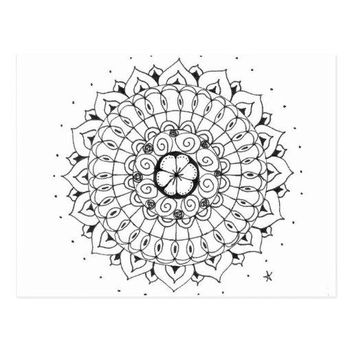 zentangle mandala - bloem wenskaarten