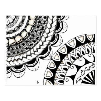 zentangle mandala - dubbele bloem wens kaarten