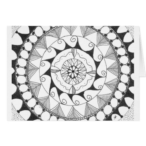 zentangle mandala - wervelingen wenskaart