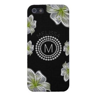 Zes Witte Bloemen met Diamanten en Uw Naam iPhone 5 Hoesjes