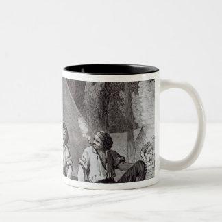 Zet de goudzoekers van Alexander bij avond op Tweekleurige Koffiemok