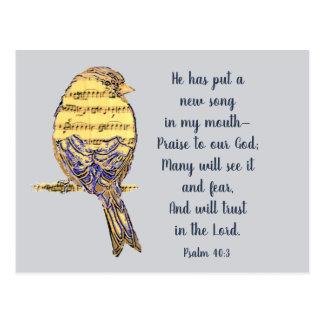 Zet een Lied in mijn Vogel van het Heilige Schrift Briefkaart
