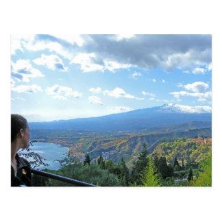 Zet het Briefkaart van het uitzicht van Etna op