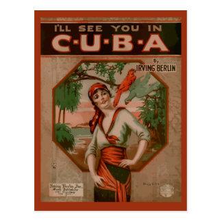 Zie u in Cuba, retro dekking van de bladmuziek Briefkaart