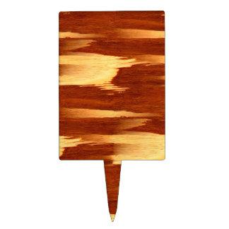 Ziet de Houten Korrel van het Bamboe van de Streep Cake Topper