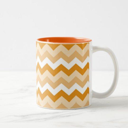 Zigzag patroon (oranje en wit) tweekleurige koffiemok