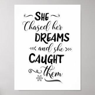 Zij achtervolgde Haar Dromen en zij ving hen Poster