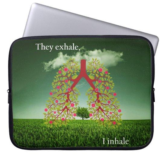 Zij ademen uit, inhaleer ik computer sleeve hoesjes