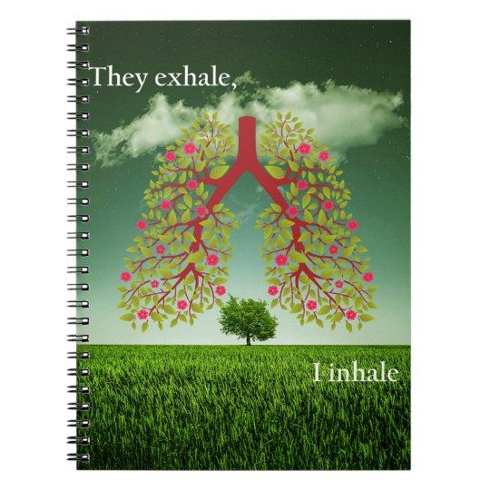 Zij ademen uit, inhaleer ik notitieboek