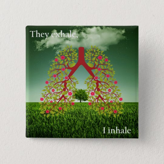 Zij ademen uit, inhaleer ik vierkante button 5,1 cm