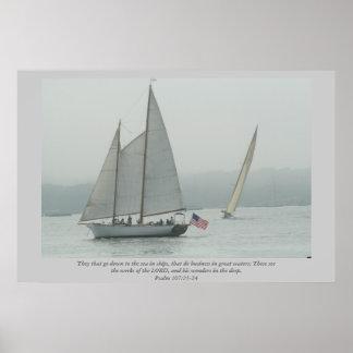 Zij die naar het zee in schepen… dalen Heilige Sch Poster