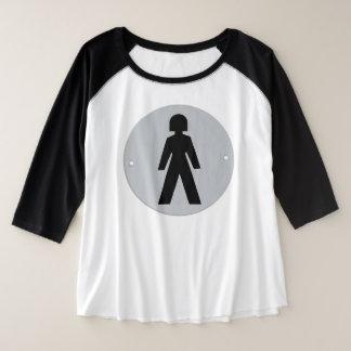 Zij draagt de Broek Grote Maat Raglan T-shirt