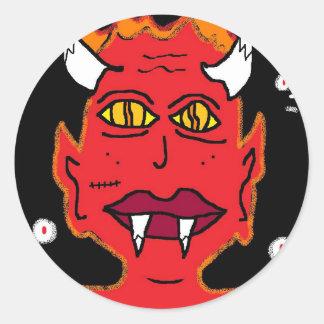 zij duivel ronde sticker