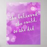 """""""Zij geloofde. """"Motivatie Poster voor Meisje"""