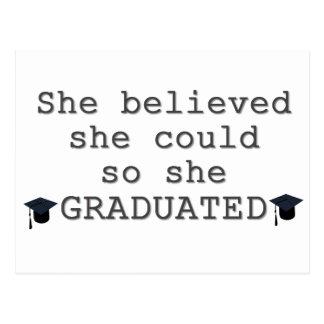 Zij geloofde zij Afstuderen kon Briefkaart