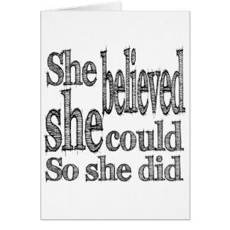 Zij geloofde zij kon zodat deed zij briefkaarten 0