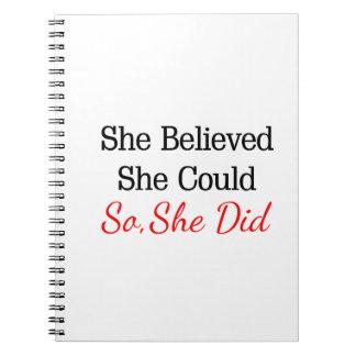 Zij geloofde zij… kon zodat deed zij! ringband notitieboek