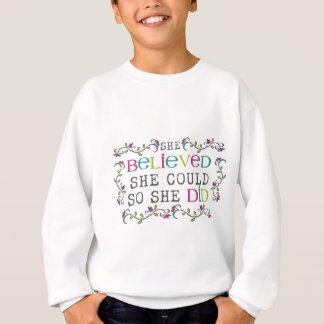 """""""zij geloofde zij kon zodat zij"""" overhemd trui"""